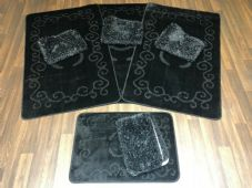 ROMANY GYPSY WASHABLES NICE NON SLIP SETS OF 4MATS MATS-RUGS BLACK TOURER SIZES